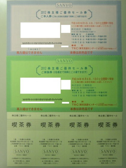 8011三陽商会の株主優待到着